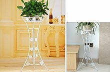 $Töpfe Pflanz Eisen Blume Rack, europäischen Boden Balkon Blumentopf Rack, Wohnzimmer im Wohnzimmer Chlorophytum einlagige Blume Regal (3 Farben) ( Farbe : Weiß , größe : Small(60cm) )