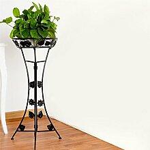 $Töpfe Pflanz Eisen Blume Rack, europäischen Boden Balkon Blumentopf Rack, Wohnzimmer im Wohnzimmer Chlorophytum einlagige Blume Regal (3 Farben) ( Farbe : Schwarz , größe : Medium(76cm) )