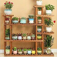 $Töpfe Pflanz Hölzerne Blumenregale Massivholz-Blumenständer Mehrschichtige Boden Blumentopf-Ausstellungsstand Balkon Wohnzimmer Multifunktions-Bonsai-Rahmen ( Farbe : A )