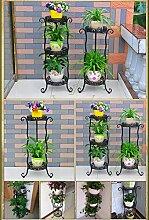 $Töpfe Pflanz Iron Flower Pot Rack, 2 abgestufte Pflanze Display Stand Bonsai Halter Haus Garten Patio Decor Regal hält ( Farbe : Schwarz , größe : 34*80CM )