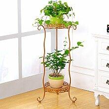 $Töpfe Pflanz Iron Flower Pot Rack, 2 abgestufte Pflanze Display Stand Bonsai Halter Haus Garten Patio Decor Regal hält ( Farbe : Gold , größe : 34*72CM )