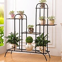 $Töpfe Pflanz Iron Flower Pot Rack, 3-4 Tiered Plant Display Stand Bonsai Halter Haus Garten Patio Decor Regal Hält Weiß / Schwarz / Gold ( Farbe : Schwarz , größe : 81.5*26.5*99.5CM )