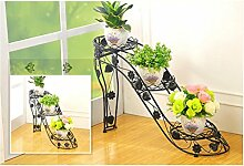 $Töpfe Pflanz Iron Flower Pot Rack, 3-4 Tiered Plant Display Stand Bonsai Halter Haus Garten Patio Decor Regal hält ( Farbe : Schwarz , größe : 25*73*54CM )