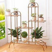 $Töpfe Pflanz Iron Flower Pot Rack, 3-4 Tiered Plant Display Stand Bonsai Halter Haus Garten Patio Decor Regal Hält Weiß / Schwarz / Gold ( Farbe : Gold , größe : 81.5*26.5*99.5CM )