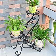 $Töpfe Pflanz Iron Flower Pot Rack, 3 abgestufte Pflanze Display Ständer Bonsai Halter Haus Garten Patio Regal hält schwarz ( Farbe : Schwarz , größe : 62*24*68.5CM )