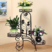 $Töpfe Pflanz Iron Flower Pot Rack, 3 abgestufte Pflanze Display Ständer Bonsai Halter Haus Garten Patio Regal hält schwarz / weiß ( Farbe : D )