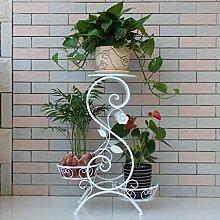 $Töpfe Pflanz Iron Flower Pot Rack, 3 abgestufte Pflanze Display Ständer Bonsai Halter Haus Garten Patio Regal hält schwarz / weiß ( Farbe : A , größe : 66*50*25CM )
