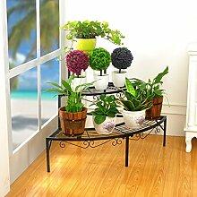 $Töpfe Pflanz Iron Flower Pot Rack, 3 Tiered Plant Display Stand Bonsai Halter Haus Garten Patio Decor Regal hält Schwarz / Gold / Weiß ( Farbe : Schwarz , größe : 84*60*60CM )