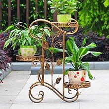 $Töpfe Pflanz Iron Flower Pot Rack, 3 Tiered Plant Display Stand Bonsai Halter Haus Garten Patio Decor Regal hält Schwarz / Gold ( Farbe : C )