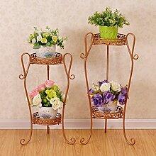 $Töpfe Pflanz Iron Flower Pot Rack, 3 Tiered Plant Display Stand Bonsai Halter Haus Garten Patio Decor Regal hält Sets von 2 schwarz / weiß / Gold ( Farbe : Gold , größe : 32*21.5*66CM/35*23*75CM )