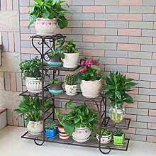 $Töpfe Pflanz Iron Flower Pot Rack, 4 Tiered Plant Display Stand Bonsai Halter Haus Garten Patio Decor Regal hält Schwarz / Weiß ( Farbe : C , größe : 68*23*85CM )