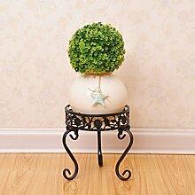 $Töpfe Pflanz Iron Flower Pot Rack, Round Plant Display Stand Bonsai Holder Haus Garten Patio Decor Regal hält weiß / schwarz / Gold ( Farbe : Schwarz , größe : 20*20*20CM )