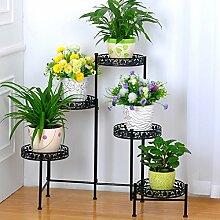 $Töpfe Pflanz Iron Flower Pot Rack, Runde 5 Tiered Plant Display Stand Bonsai Holder Haus Garten Patio Decor Regal hält weiß / schwarz / Gold ( Farbe : Schwarz , größe : 116*68CM )