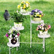 $Töpfe Pflanz Iron Flower Pot Rack, Runde 5 Tiered Plant Display Stand Bonsai Holder Haus Garten Patio Decor Regal hält weiß / schwarz / Gold ( Farbe : Weiß , größe : 116*68CM )