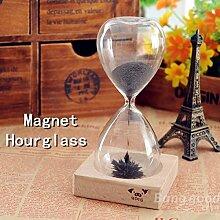 [Versand kostenlos] Pulver Magnet Sanduhr mit Spielzeug DSEK Halter aus Eisen//Iron Powder Magnet Hourglass with Wooden Holder DSEK Toy