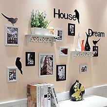 & Wandmontage Design Foto-Galerie-Rahmen-Satz der Wand-Art- und Weiseausgangsdekoration mit verwendbarer Grafik und Familie, Satz von 10 ( Farbe : A )