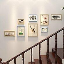 & Wandmontage Design Holz-Foto-Galerie-Rahmen-Sätze der Wand-Art- und Weiseausgangsdekoration mit verwendbarer Gestaltungsarbeit und Familie, Sätze von 8 ( Farbe : B )
