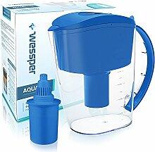 ✧WESSPER® Universal Wasserfilter Kanne, Wasser Krug, Alkalisch, Aktivkohle (kompatibel mit 1Alkaline) 3,5L - Blau
