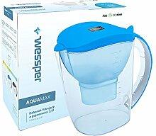 ✧WESSPER® Wasserfilter, Kanne, Krug, Wasserfilterkanne, Wasserkrug, Wasser Filter Krug, Universal Kanne, Alkalisch, Aktivkohle, Elektronischer Timer, passt in den Kühlschrank (AquaMax 3,5L, Blue)