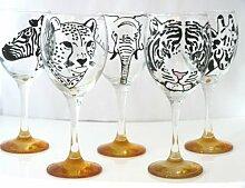 , Wie Erinnerungen, Diese Handbemalte Safari Animal Weinglas, Zebramuster, Orange