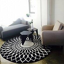 #Wohnzimmer Teppich Kreativer runder Wohnzimmer-Teppich-Mode-runder Teppich-Hauptteppich-Nachttisch-Decken-Teppich-Schlafzimmer-Wolldecke-Wolldecke Matten ( Farbe : Schwarz , größe : 100*100cm )