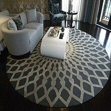 #Wohnzimmer Teppich Kreativer runder Wohnzimmer-Teppich-Mode-runder Teppich-Hauptteppich-Nachttisch-Decken-Teppich-Schlafzimmer-Wolldecke-Wolldecke Matten ( Farbe : Grau , größe : 100*100cm )