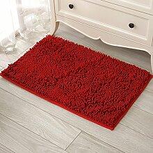 #Wohnzimmer Teppich Teppich Chenille Matten Fußmatte Badezimmer Wohnzimmer Matte Rutschfeste Matte Matten ( Farbe : Rot , größe : 60*90cm )