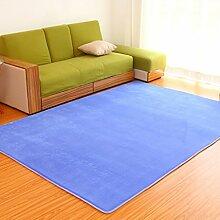 #Wohnzimmer Teppich Teppich Wohnzimmer Schlafzimmer Solid Color Tuch Square Tea Tisch Nachttisch Teppich Matten ( Farbe : Blau , größe : 100×160CM )