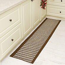 #Wohnzimmerteppich Teppich Küche Bodenmatten Streifen Anti-Öl-Anti-Rutsch-Pad Home Badezimmer Die Tür-Matte Die Tür-Auflage Decken ( Farbe : Grün , größe : 43*120cm )
