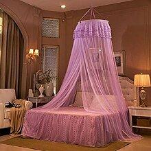 * XMM®-Prinzessin Modell Traumgarten Kuppel Boden zu vermeiden hängen Decke Moskitonetze Sommer hohe Verschlüsselung Boden Anti-Moskitonetze, lila
