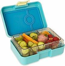 ❤ Yumbox Mini XS Snackbox - Kleine Kinder Bentobox, 3 Fächer - Brotdose mit Unterteilung für Krippe, Kita oder kleinen Snack Unterwegs (Cannes Blue)
