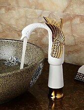 *-* zeitgenössische Keramik Körperform Schwan Bad Waschtischmischer (groß) - Gold + weiß