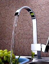*-* zeitgenössische verchromt Messing einzigen Handgriff ein Loch Wasserfall Küchenarmatur