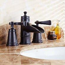 &ZHOU Badewanne Wasserhahn,antike verbreitet Keramik-Ventil zwei Griffe drei Löcher mit Öl-geriebenes Bronze Waschbecken Wasserhahn