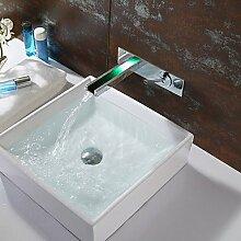 &ZHOU Wasserhahn,Badezimmer Waschbecken Wasserhahn Farbwechsel LED Wasserfall Wasserhahn Wandmontage