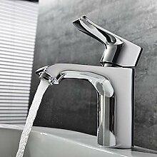 &ZHOU Wasserhahn,Zeitgenössisch 3-Loch-Armatur Einhand Ein Loch in Chrom Waschbecken Wasserhahn