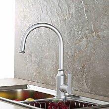 &ZHOU Wasserhahn,Zeitgenössisch Mittellage Wasserfall with Keramisches Ventil Einhand Ein Loch for Gebürsteter Nickel , Armatur für die Küche , silvery