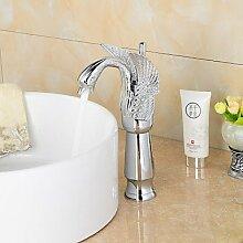 &ZHOU Wasserhahn,Zeitgenössische Chrom schwanenförmigen Badezimmer waschen Waschbecken Wasserhahn (hoch)-Silber