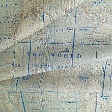 0,5m Canvas Weltkarte Mint-Petrol 80% Baumwolle