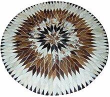 0 Teppich-runder Teppich-Handgenähter lederner