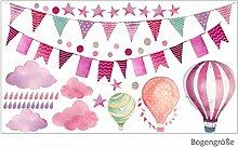 015 Wandtattoo Girlande Wimpelkette Ballon Wolke
