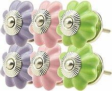 03057_6er - Möbelknopf Set rosa, lila, grün Jay Knopf ® Möbelknauf Set Möbelknöpfe Set, Möbelgriff Set, Shabby Chic Vintage Retro Keramik Porzellan