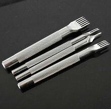 1 2 4 6 Prong Diamant Meißel Lederhandwerk Werkzeuge Locher Tool (Größe: 4 Zinke)