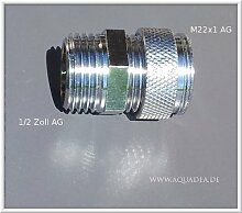 """1/2 Zoll AG x M22 AG, chrom, Sanitär Gewinde Adapter M22 AG auf 1/2""""""""Zoll Aussengewinde, Halbzoll auf M 22 AG, Übergang, um z.B.einen Aquadea Kristall-Wirbler oder Filter (Sanuno) an einen Duschschlauch anzubringen."""