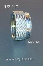 """1/2 Zoll IG x M 22 AG, chrom, Sanitär Gewinde Adapter Halbzoll Innengewinde auf M 22 Aussengewinde, 22 AG x 1/2"""""""" IG, Übergang, um z.B. unter einen Vitavortex Wirbler ein Aquadea Kristall-Wirbel-Modul anzubringen."""