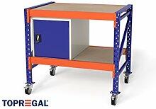 1,2m Multifunktionswerkbank MFW1000, 104cm hoch, 80cm tief, Multiplexplatte, fahrbar, 1x WST/1x Holzboden