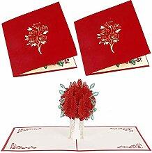 1/2Pcs Rose Bouquet Pop-up-Karte -