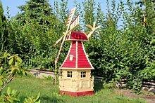 1,40m große Windmühle aus Holz mit Solar Typ 15.1 (Rot)