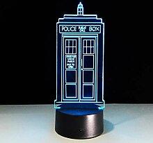 1 7-farbig für 3D Lampe Tischlampe TARDIS Lampe