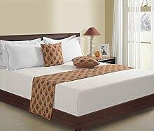 1-Bett-Läufer und 2 Kissen decken gedruckten Faux Seide für Doppelbett, braun mit Maroon